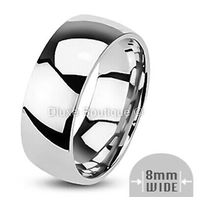 $8.99 • Buy Men's 8mm Wide Stainless Steel 316L Classic Comfort Fit Wedding Ring Band