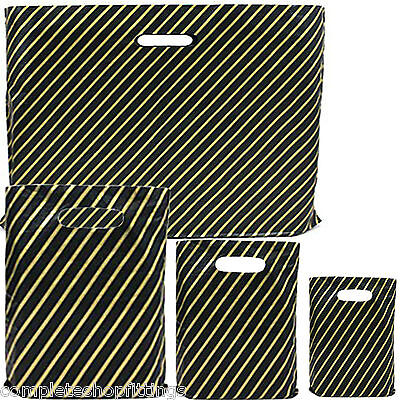 £15.17 • Buy New Black And Gold Strong Plastic Carrier Bags Striped Shopping Retail Bags