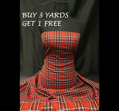 Genuine Red Royal Stewart Tartan Woven Poly-Viscose Craft Dress Fabric Material • 5.99£