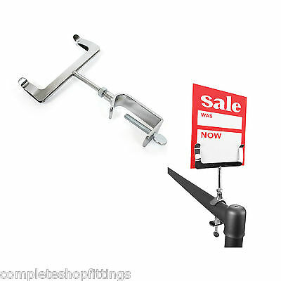 New Chrome Clamp On Display Price Ticket Card Holder Clothes Rail • 3.99£