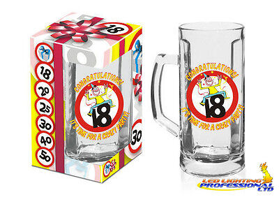 BIRTHDAY PARTY GIFT PRESENT - BEER MUG 18th - TANKARD PINT PARTY PARTY GLASS • 7.90£