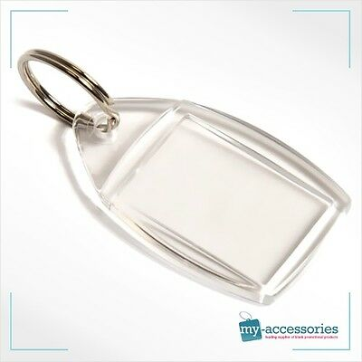 Clear Blank Acrylic Photo Keyring Insert Personalise - Plastic 35mm X 24mm (P5) • 3.90£