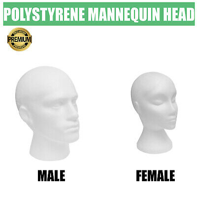 £6.74 • Buy New Polystyrene Male/female Display Head Mannequin For Hats, Glasses, Scarfs