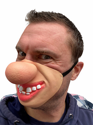 Half Face Funny Big Red Nose Clown Mask Hillbilly Teeth Fancy Dress Stag Costume • 4.97£
