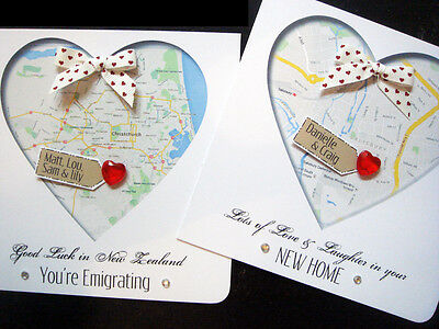 Handmade Personalised' New Home / Emigrating / Engagement MAP Cards • 4.30£