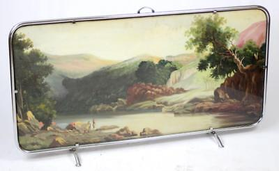 £164 • Buy ART DECO CHROME FIRE SCREEN WITH A PAINTING # LARGE   120 Cm X 65 Cm #