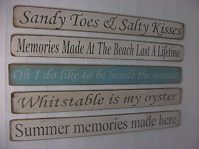 Shabby Chic Wooden Signs Home Interiors Decorative BEACH • 15.50£