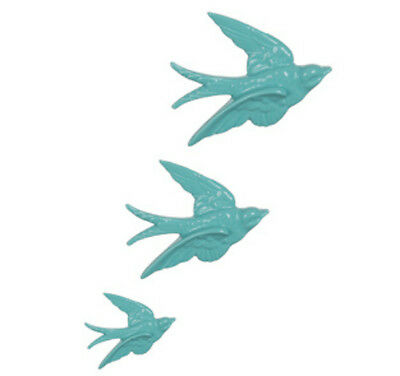 £10.93 • Buy Set Of 3 Retro Kitsch Duck Egg Blue Flying Swallows Birds Wall Hanging