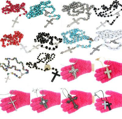 £1.99 • Buy Crystal Glass Rosary Beads Silver Gold Cross Necklace Pendant For Women Men Girl