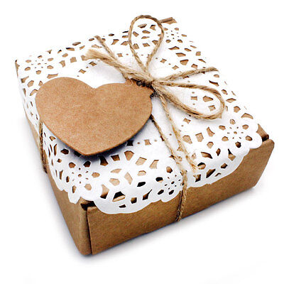 £5.69 • Buy 2 X Handcraft 'Love Heart' Kraft Card Gift Boxes For Wedding Favours Birthday
