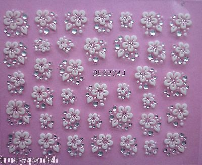 £1.85 • Buy 3D Nail Art Lace Stickers Decals Transfers WHITE SILVER Flowers Rhinestone (274)