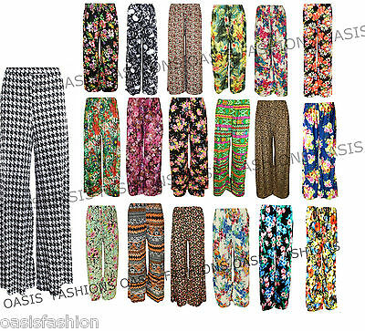 £9.99 • Buy New Plus Size Womens Floral Print Ladies Wide Leg Palazzo Trousers Pants 10 - 26