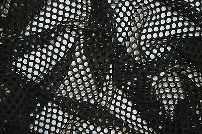 £0.99 • Buy Black Fish Net Airtex Mesh Fabric Polyester Stretch Material 3 To 4 Mm Holes