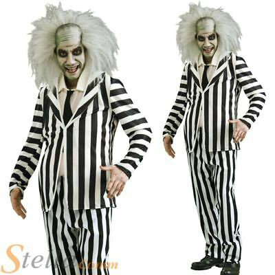 Mens Beetlejuice Costume 80s Halloween Ghost FancY Dress Adult Outfit • 32.98£
