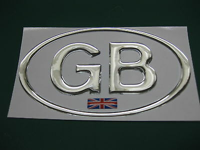 1 GB OVAL CHROME DOME CAR STICKER With Union Flag 130mm X 72mm • 4.58£