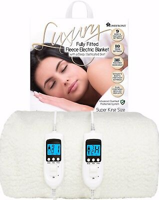 £94.95 • Buy Electric Blanket Super King Size Dual Control Fleece Heated Mattress Bed Cover