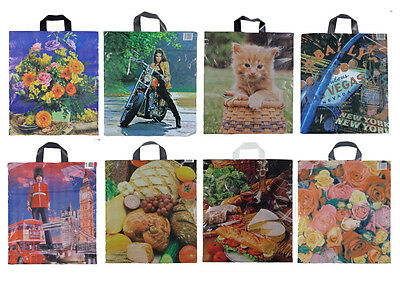 STRONG LARGE SHOPPING PLASTIC CARRIER BAGS 18  X 15  SHOPPING COLOURFUL DESIGNS • 6.20£