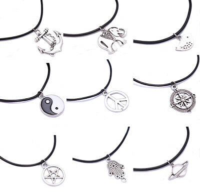 £1.19 • Buy Leather Cord Choker Silver Plated Charm Necklace Pendant Hippy For Women Men