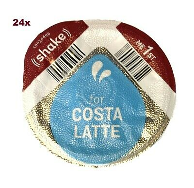 £10.99 • Buy 24x TASSIMO COSTA LATTE 325ml MILK CREAMER ONLY T-DISCS PODS LARGE CUP SIZE