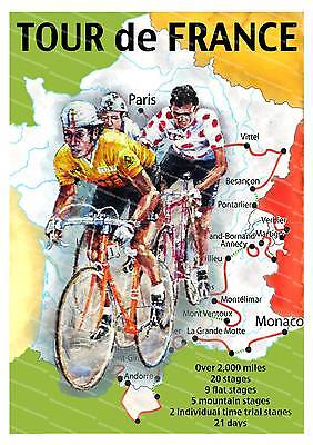 £10.99 • Buy Tour De France, Old Cycling Poster Reproduction.