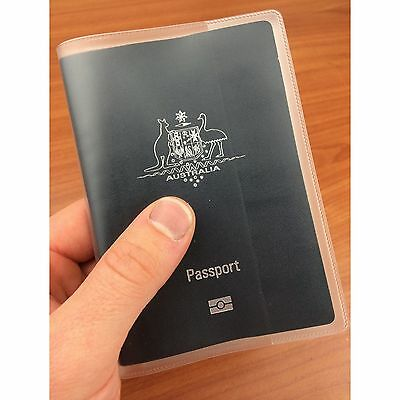 AU1.69 • Buy Matte Transparent Passport Cover Protector Travel Clear Holder Organiser Wallet