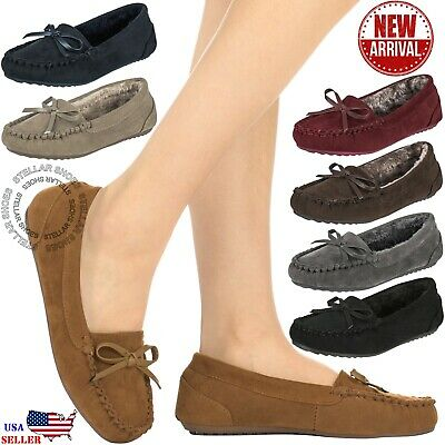 $15.99 • Buy CLOVERLY Women's Moccasin Faux Fur Suede Slippers Moccasins Comfortable Slippers
