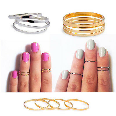 AU6.95 • Buy 5 PCS Midi Ring Set Silver Rose Gold Stack Cute Above Knuckle Band Pinky