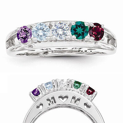 $85 • Buy MOM Birthstone Ring 1-5 Stones Sterling Silver, Mothers Family Jewelry Rings