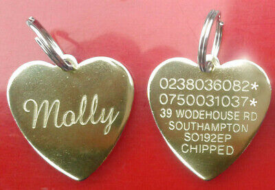 Engraved Pet Tags Dog Cat Puppy Heart ID Personalised Identity Collar Brass Disc • 5.99£