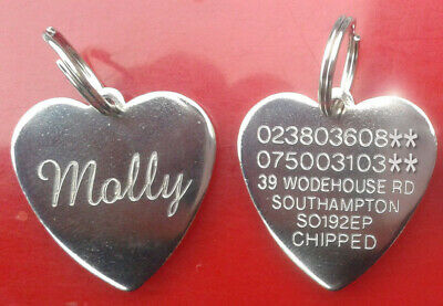 £6.99 • Buy Engraved Pet Tags Name ID Disc Dog Cat For Collar Personalised Silver Gold Tag