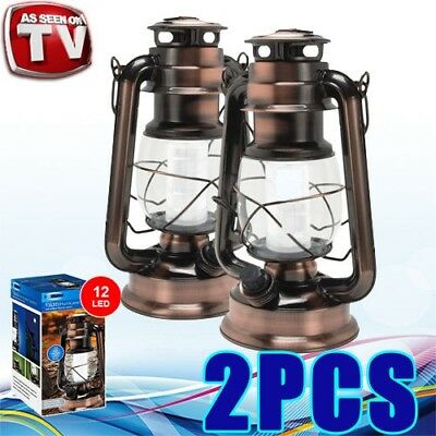AU36.95 • Buy 2x 12 LED Vintage Hurricane Lantern W Built-in Dimmer Switch Camping Pergola