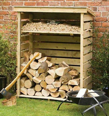4ft LOG STORE WOOD STORAGE PRESSURE TREATED WOODEN LOGSTORES NEW UN USED STORES • 137.94£