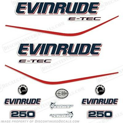 $98.95 • Buy Evinrude 250hp E-Tec Outboard Decal Kit - 2004 2005 2006 2007 2008