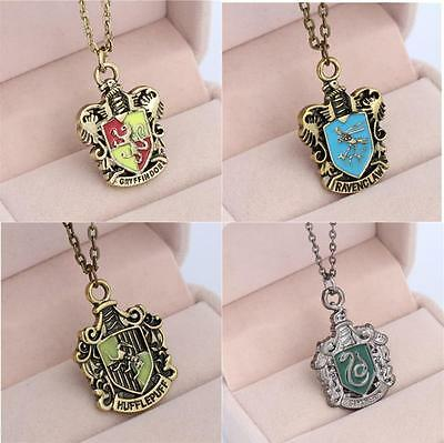 AU9.95 • Buy Harry Potter 4 House Hogwarts Necklace Gryffindor Ravenclaw Hufflepuff Slytherin