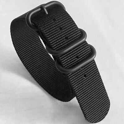 $12.95 • Buy 3-Ring Black Watch Strap, Military-Style Nylon Band With Matte PVD Finish Buckle