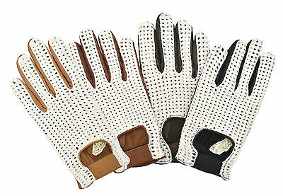 Classic Driving Gloves Crochet String Back Real Leather Chauffeur Unlined • 14.99£