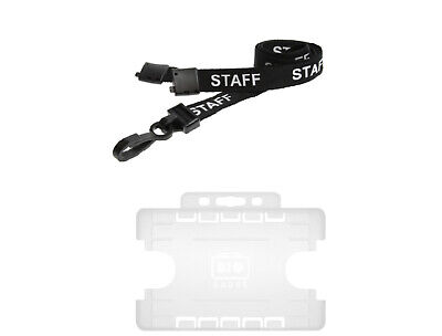 ID Card Holder Clear Double Sided And Staff Neck Strap Lanyard With Safety Catch • 2.19£