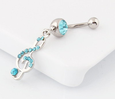 Stunning Music Note Aqua Dangle Belly Navel Bar Ring Surgical Steel UK Seller • 3.49£