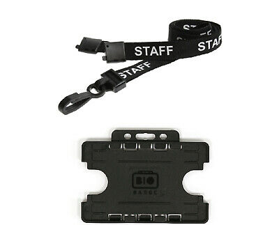 ID Card Name Pass Badge Holder Double Sided And Staff Lanyard Neck Strap For NHS • 2.99£