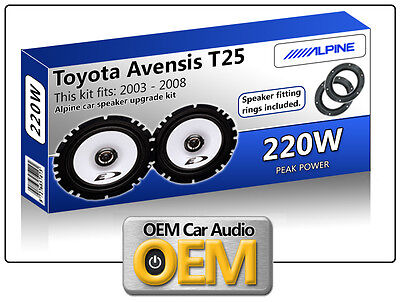 Toyota Avensis T25 Front Door Speakers Alpine 6.5  17cm Car Speaker Kit 220W Max • 44.99£