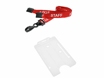 ID Card Holder Clear Vertical And STAFF Neck Strap Lanyard • 2£