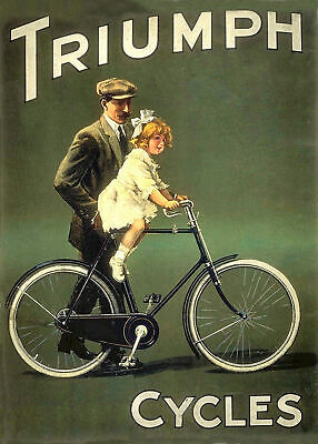 £3.95 • Buy Vintage Old Triumph Cycles Bicycle Advertisement Poster Art Print A3 A4