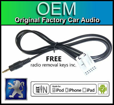 Peugeot 307 AUX Lead, Peugeot RD4 Car Stereo AUX In Cable IPod IPhone Android • 14.99£