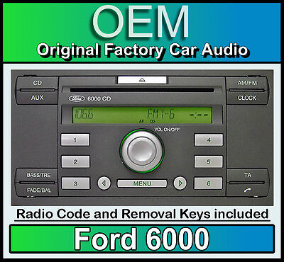 Ford 6000 CD Player, Ford C-Max Car Stereo Headunit With Radio Removal Keys • 46.99£