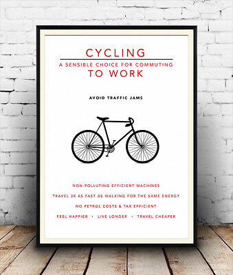Cycling To Work , Cycle Benefits Advertising Poster Reproduction. • 7.99£