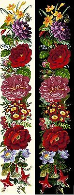 Berlinwork Bell Pull 2 Flower Counted Cross Stitch Kit Or Chart 14s Aida • 20£