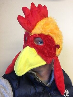 Chicken Head Mask Rooster Hat Farm Animal Bird Fancy Dress Stag Party Costume • 6.79£