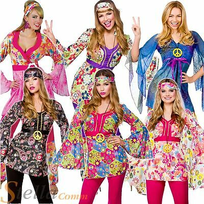 £12.99 • Buy Ladies Hippie 60s 70s Hippy Flower Fancy Dress Costumes Flares Adult Outfit