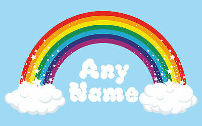Personalised Rainbow Wall Art. Choose Any Name Vinyl Sticker, Full Colour Decal • 5.45£