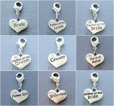 $3.59 • Buy Heart Wedding Clip On Charm Lobster Clasp For Link Chain, Floating Locket C121